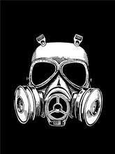 White Gas Mask Isolated On Black Background, Vector Graphical Illustration, Anti Virus  Protection Element