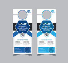 Real Estate Door Hanger And Modern Door Hanger Mockup Door Hanger Template
