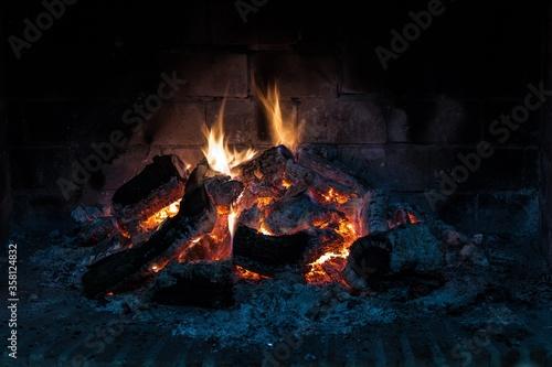 Closeup shot of a blaze fire flame in a hearth