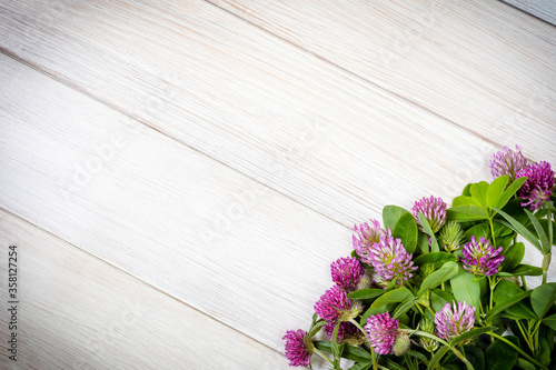 Photo Clover flowers on a wooden table
