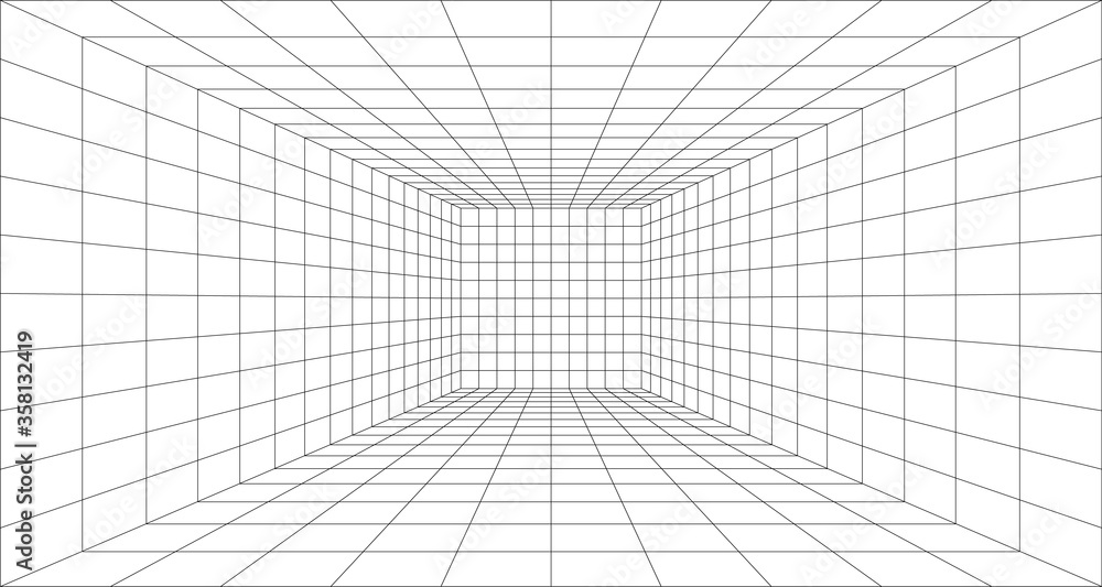 Fototapeta Perspective grid background 3d Vector illustration. Model projection background template. Line one point perspective