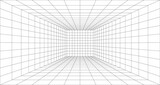 Room perspective grid background 3d Vector illustration. Model projection background template. Line one point perspective