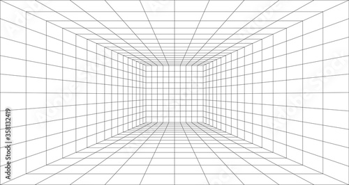 Canvastavla Room perspective grid background 3d Vector illustration