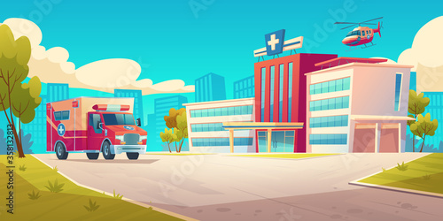 Papel de parede Cityscape with hospital building, ambulance car and helicopter