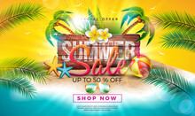 Summer Sale Design With Flower, Exotic Palm Leaves And Typography Letter On Vintage Wood Board. Tropical Vector Special Offer Illustration On Ocean Landscape Background For Coupon, Voucher, Banner