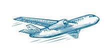 Flying Airplane Sketch. Air Tr...