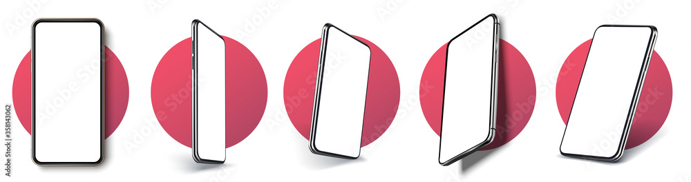 Fototapeta Realistic layout of the smartphone in different positions. Mobile phone frame with blank display isolated templates, phone of different types and different angles. 3D/UX template vector illustration