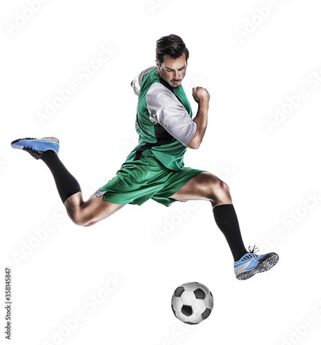 Fotografija Young man playing football on white background