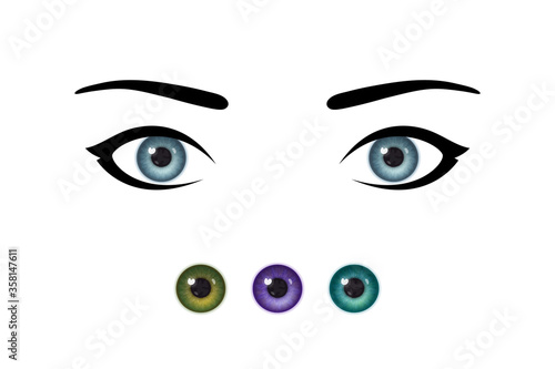 Foto Beautiful woman's eyes and realistic irises of different colors