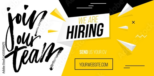 We are hiring, join our team banner template flat vector illustration. Yellow and black website design for finding job and sending cv resume. Headhunting agency, employment concept