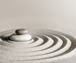 canvas print picture - Japanese zen garden meditation stone, concentration and relaxation sand and rock for harmony and balance