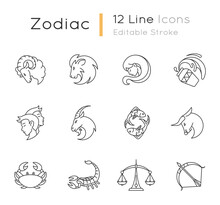 Zodiac Signs Pixel Perfect Linear Icons Set. Twelve Horoscope Customizable Thin Line Contour Symbols For Fortune Telling. Different Birth Signs. Isolated Vector Outline Illustrations. Editable Stroke