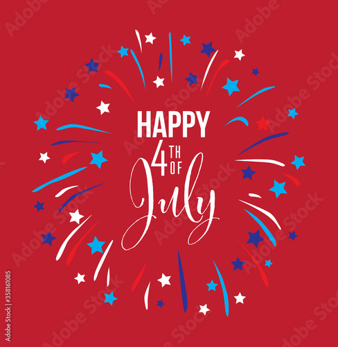Happy Fourth of July Illustration on a Blue Background