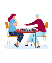Strategic Family Chess Board Game, Interesting Hobby, Fun Pastime, Design In Cartoon Style Vector Illustration, Isolated On White. Pensive Young And Old Women, Sitting At Table, Caring Elderly Mother.