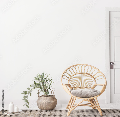 Obraz na plátně Living room interior with wicker armchair and eucalyptus plant, white wall mock