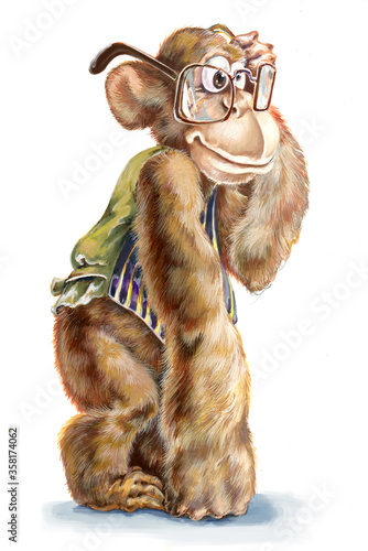 A monkey in his waistcoat holding glasses on face Canvas Print