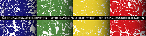 Seamless set of four abstract multicolor patterns with white spots imitating cra Fototapet