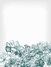 Engraving Flower Background We...