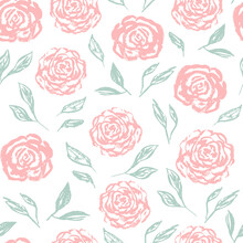 Tender Blue Vintage Seamless Pattern With Scratched White Roses Silhouettes. Romantic Retro Ink Flowers Texture For Textile, Wrapping Paper, Surface, Wallpaper, Background, Package