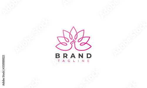 Valokuva zen peacock logo design , a peacock with a tulips in line art logo design style