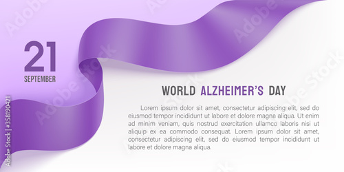 Alzheimer's day poster with ribbon and rose Canvas-taulu