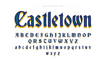 Blue And Yellow Old Script For Medieval Games And Display Typography