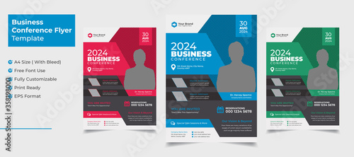 Photo Creative and clean business conference flyer template