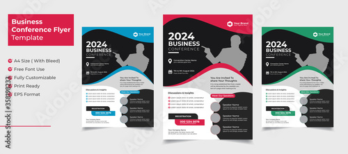 Obraz na plátne Creative and clean business conference flyer template