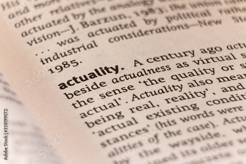 Dictionary definition of the word actuality Wallpaper Mural