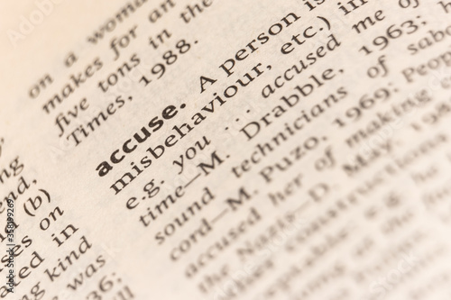 Photo Dictionary definition of the word accuse