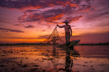 Life Of Asia Two Fisherman Sil...