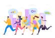 Businessmen running success leadership teamwork vector illustration. Professionals build career demonstrating competency. People seek toward their goal, pondering prosperity solution task.