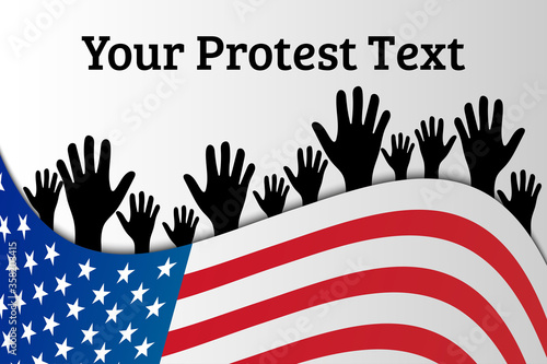 American Protest Illustration with Flag and Hands Canvas Print
