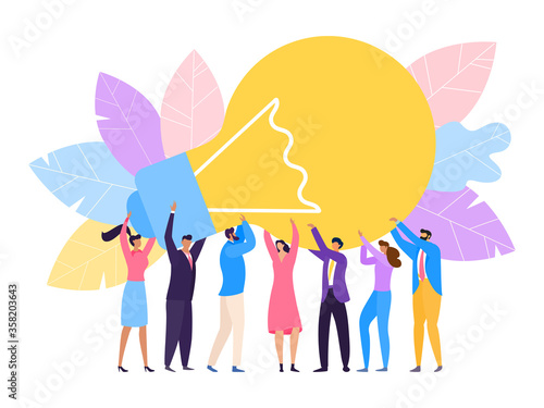 Photo Group people hold huge lamp new idea vector Illustration