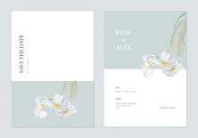Minimalist Floral Wedding Invitation Card Template Design, White Plumeria Flowers On Bright Green And White