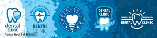 Obraz na plátně Vector illustration of a set of tooth logos for dentistry