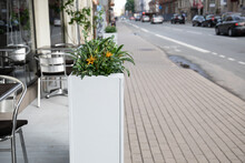 Outdoor Cafes With Empty Table...