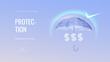 Money Protection Futuristic Concept Vector Illustration. Glowing Polygonal Umbrella, Shield Over Money On Dark Blue Background. Financial Savings Insurance, Secure Business Economy