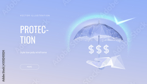 Tablou Canvas Money protection futuristic concept vector illustration