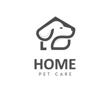 Dog House Line Art Symbol Logo...