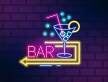 Colorful Neon Bar Signboard Wi...