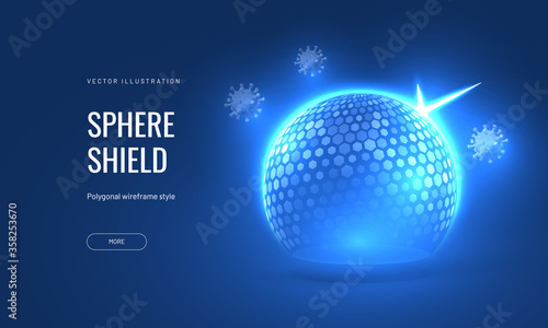 Valokuvatapetti Bubble shield virus and infection protection vector illustration on a blue background