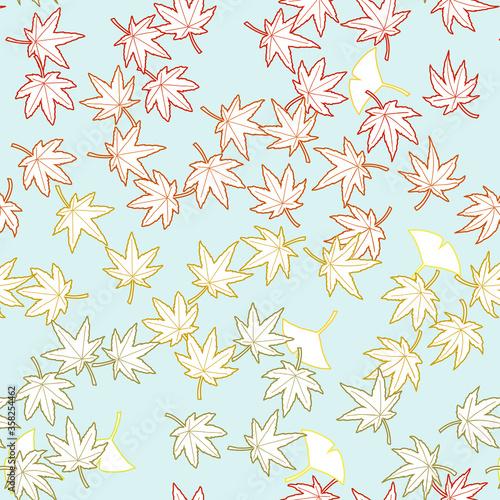 鮮やかな秋を彩る軽やかな紅葉と銀杏のシームレスリピート背景素材 Canvas Print