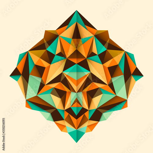 Abstract style angular object, made of various geometric shapes in color Fototapet