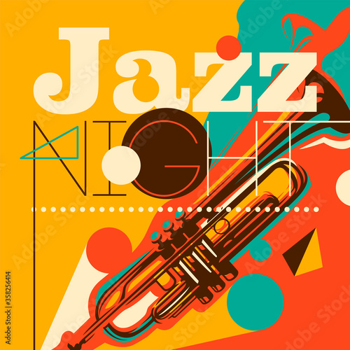 Photo Artistic jazz night background in color, with silhouette of a trumpet and abstract design elements