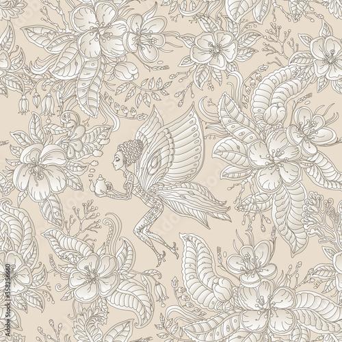 Tapety kolonialne  wektor-kwiatowy-bajki-bezszwowe-wzor-kwiaty-liscie-brazowy-kontur-i-fantazja-motyl-pixie-kobieta-z-czajniczek-cienki-rysunek-linii-na-bezowym-tle-farba-batikowa