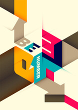 Conceptual Isometric Poster With Typography. Vector Illustration.