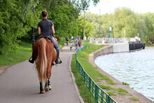 Girl Riding Horse In A Summer Park. Horsewoman On River Coast On Walking People Background