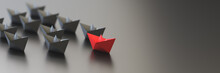 Leadership, Success, And Teamwork Concept, Red Leader Boat Leading Black Boats. 3D Rendering.