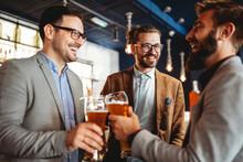 Business People Drink Beer Aft...